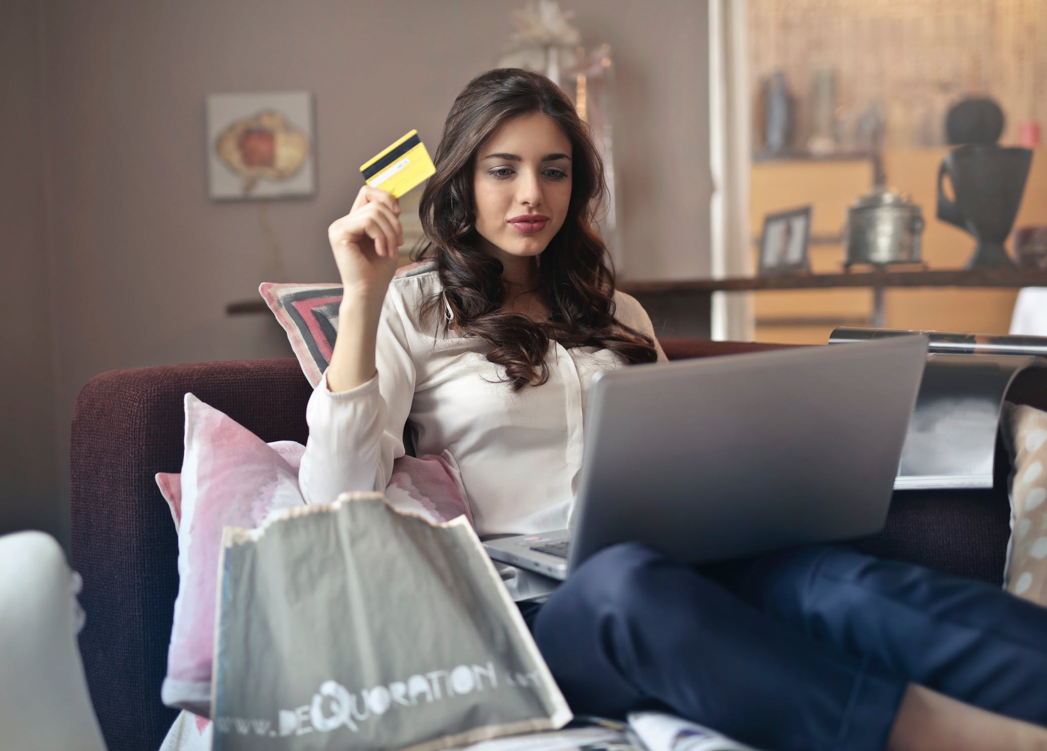 Person making online purchase