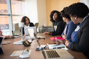 Booster club marketing team brainstorming a strategy.