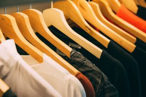 Apparel selection on hangers for booster club apparel printers